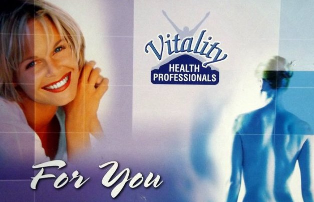 "Images of a woman smiling and a man's back with the caption "" Vitality for you"""