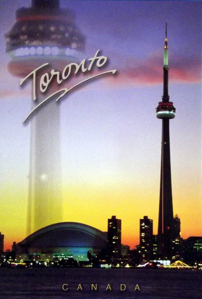 View of downtown Toronto with CN Tower and another image of the CN Tower superimposed