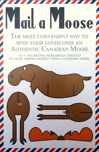 Images of a moose cut up so that people can assemble it into a moose with the caption Mail a Moose