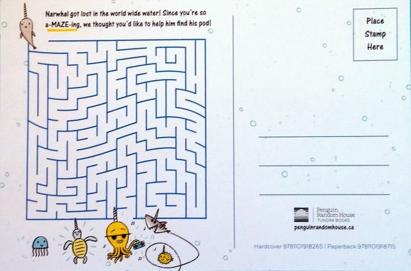 Back of postcard with a maze for kids