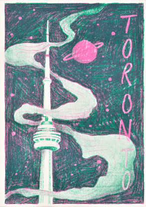 Drawing of CN Tower with Saturn in the sky