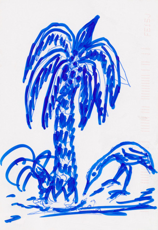 A hand-drawn image of a palm tree with a bird