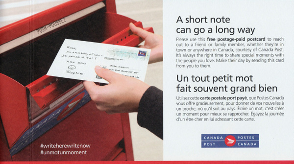 Someone is mailing a postcard into a Canada Post mailbox. The caption reads A short note can go a long way. Please use this free postage-paid postcard to reach out to a friend or family member, whether they're in town or anywhere in Canada, courtesy of Canada Post.
