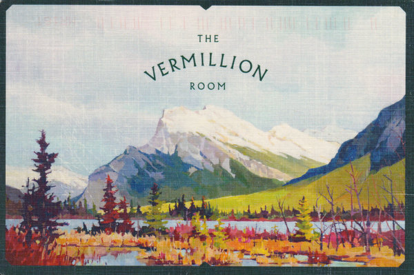 A painting of a mountain with a river at Fall with the caption The Vermillion Room