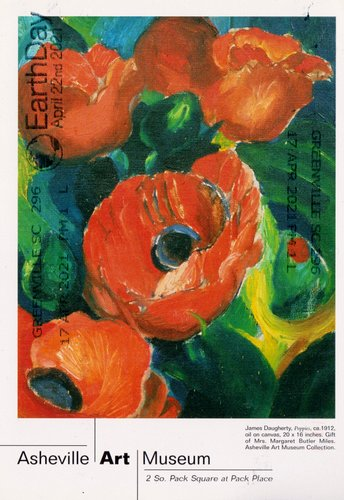A painting of poppies with the caption Asheville Art Museum