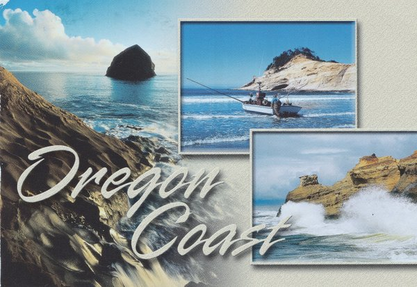 A collage of images of the ocean and rugged coast with the caption that says Oregon Coast